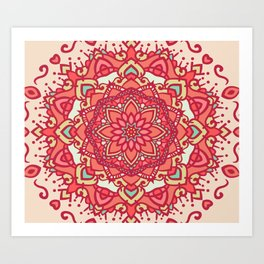 Crimson mandala Art Print
