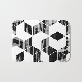 Elegant Black and White Geometric Design Bath Mat