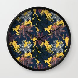 Happy Yellow Frogs Wall Clock