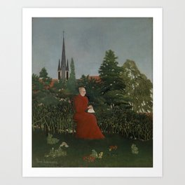 Portrait of a Woman in a Landscape Art Print