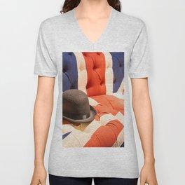 Black Bowler Hat Union Jack Chesterfield Color Unisex V-Neck