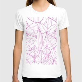 Abstract Modern Pink Hand Painted Leaves Pattern T-shirt