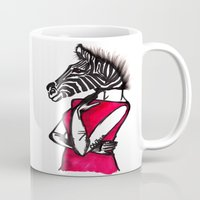 striped Mugs featuring Striped by Chetna Shetty