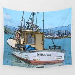 Fishing boat at Whitianga, NZ Wall Tapestry