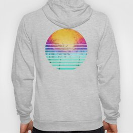 Vintage Retro 80's Synthwave Sunset Palms Hoody