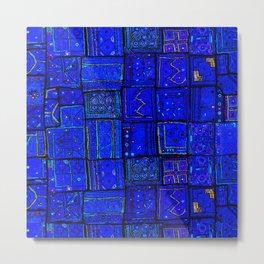 N17 - Calm Indigo Blue Boho Traditional Moroccan Artwork Metal Print