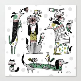 BLACK LINE DOGS Canvas Print