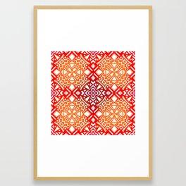 Tribal Tiles II (Red, Orange, Brown) Geometric Framed Art Print