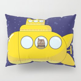 Yellow submarine in deep sea with a cat and bubbles Pillow Sham