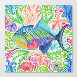 Parrot Fish & Ocean Creatures Canvas Print