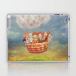 Happy children in the   air balloon in the sky - illustration art Laptop & iPad Skin