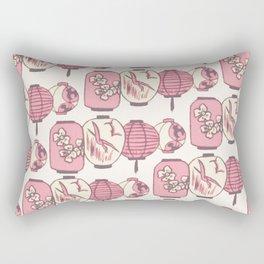 Vintage Chinese Lantern Illustration Pattern (PINK) Rectangular Pillow