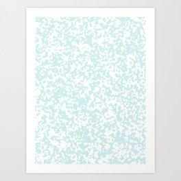 Small Spots - White and Light Cyan Art Print