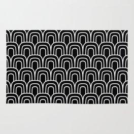 Rainbow Scallop Pattern Black & White Rug