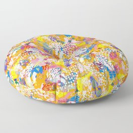 Abstract Floral Pattern No. 2 in Mustard  Floor Pillow
