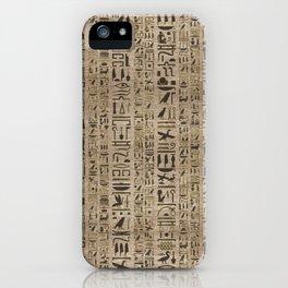 Egyptian hieroglyphs on wooden texture iPhone Case