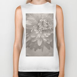 Monochrome Chrysanthemum Close-up Biker Tank
