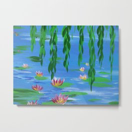 impressionist water lilies lily pads pad lilly lillys pond monet impressionism art design blue green Metal Print