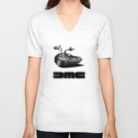 delorean V-neck T-shirts featuring Delorean exposed by SIMid
