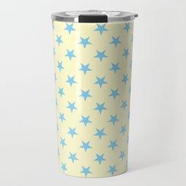 Baby Blue on Cream Yellow Stars Travel Mug