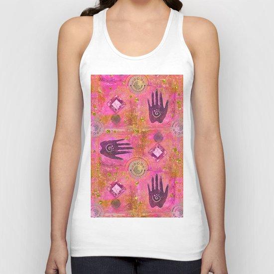 Hands ethnic symbol painting Unisex Tank Top