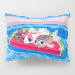 Cory cats in the swimming pool Pillow Sham