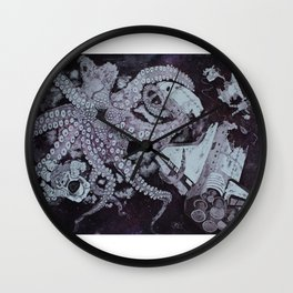 Deep Space Kraken Intaglio Etching Wall Clock