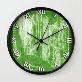 Cactus Garden Outlined Green Wall Clock