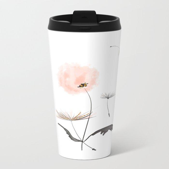 Sweet dandelions in pink - Flower watercolor illustration with glitter Metal Travel Mug