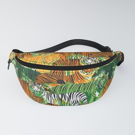Graphic seamless pattern of standing and walking tigers. Fanny Pack