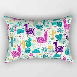 Llama desert turquoise/purple Rectangular Pillow