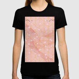 Peach Sakura Marble Gold Geometric Pattern T-shirt