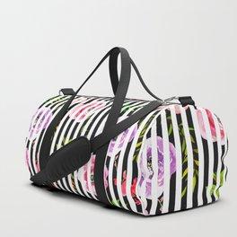 Pink lavender green watercolor floral stripes Duffle Bag