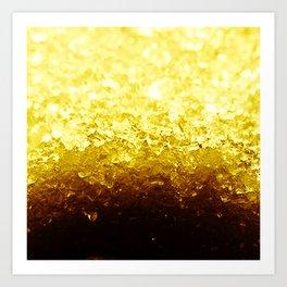 Golden Yellow Ombre Crystals Art Print