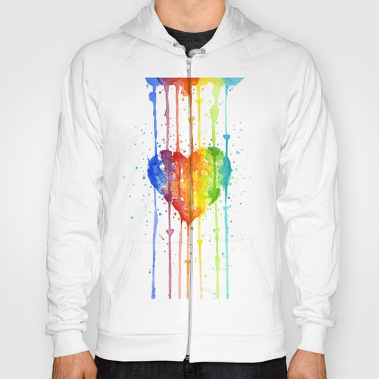 Heart Rainbow Watercolor Love Wins Colorful Splatters Hoody