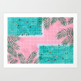 Two pool vacation Art Print