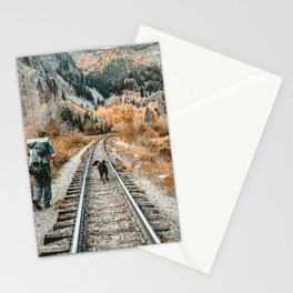 Autumn Tracks // Backpacking the Railroad Fall Tree Landscape with Black Dog Stationery Cards