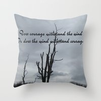 courage Throw Pillows featuring Courage by Wired Circuit