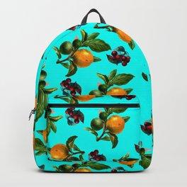 Blue Cherries and Oranges Botanical Pattern Backpack