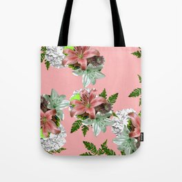 LILY PINK AND WHITE FLOWER Tote Bag
