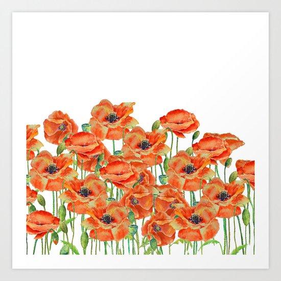 Watercolor poppy field illustration Art Print