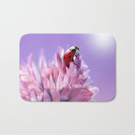 Ladybug  purple background 58 Bath Mat