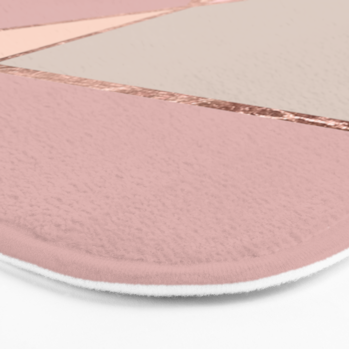 modern rose gold peach blush pink color block bath mat by girlytrend