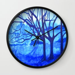 Blue Forest Wall Clock