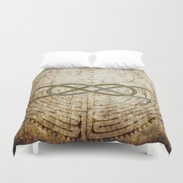 Double Infinity Silver Gold antique Duvet Cover
