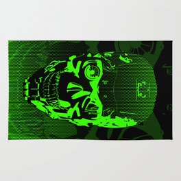 Gamer Skull CARTOON GREEN / 3D render of cyborg head Rug