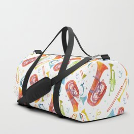 Watercolor Brass Band Music Instruments with Confetti Duffle Bag