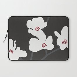 Japanese Anemone Flowers - Black, Red and White Laptop Sleeve
