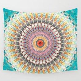 Teal Orange Yellow Boho Mandala Wall Tapestry