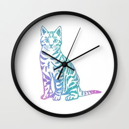 Rainbow Glitter Kitty Wall Clock